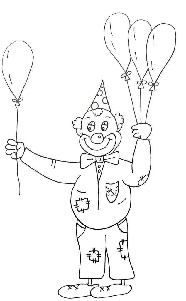 Gratis Malvorlage Clown mit Luftballon zum Download